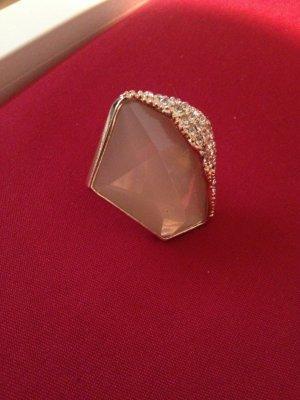 Schöner goldener Ring mit rosa Stein Gr. XL