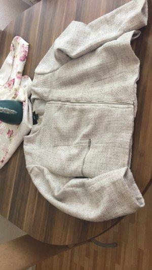 schöner grauer Blazer mit glitzerndem Stoff und einen schrägen Reißverschluss von H&M