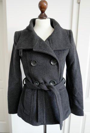Zara Manteau court gris foncé laine