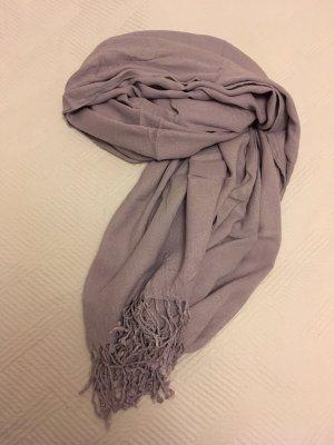 Écharpe à franges gris clair-bleu clair
