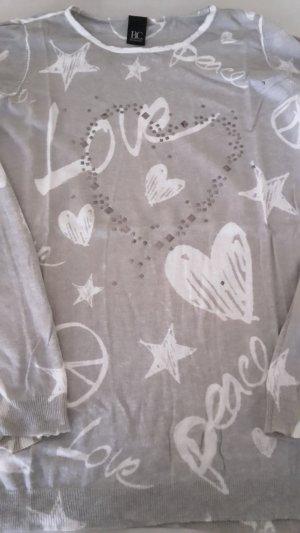 Best Connections Kraagloze sweater lichtgrijs-wit Viscose