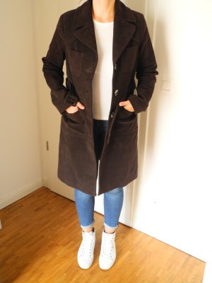 Mango Suit Trench Coat dark brown cotton