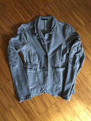 Schöner Jersey-Blazer, mit Patches, grau, Gr 40