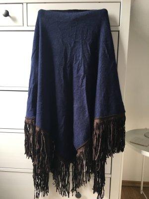 Joyce & Girls Poncho in maglia marrone-nero-blu scuro Cachemire