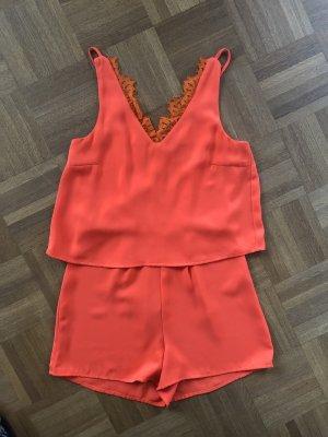 Schöner kurzer Jumpsuit/Overall, Vero Moda, leuchtendes orange
