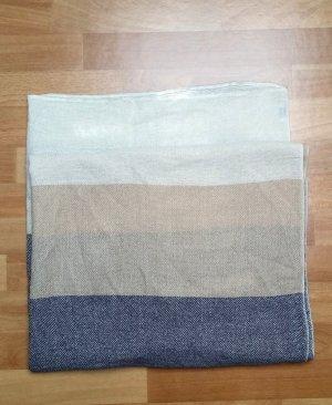 schöner langer XL Schal in weiß-beige-blau