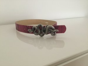 Leather Belt black-pink leather