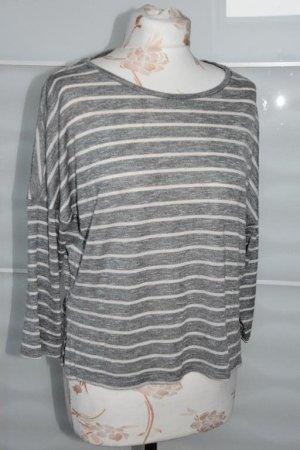 Mango Jersey de manga corta gris claro-blanco puro