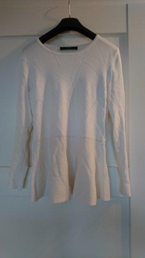 Schöner Peplum-Pulli von Hallhuber  - weiß - Nur 1x getragen