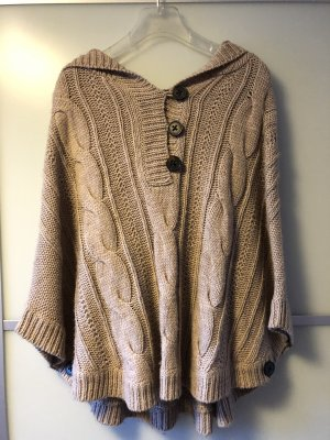 Poncho beige-dark brown