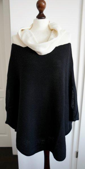 Poncho black-natural white