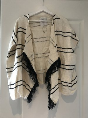 Bershka Knitted Poncho cream-black