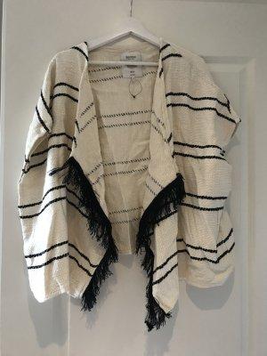 Bershka Poncho in maglia crema-nero