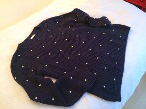 Jake*s Crewneck Sweater dark blue-white cotton