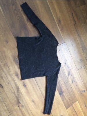 Hallhuber Kraagloze sweater zwart-zilver