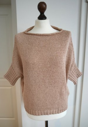 Makena Lei Short Sleeve Sweater dusky pink-gold-colored mixture fibre
