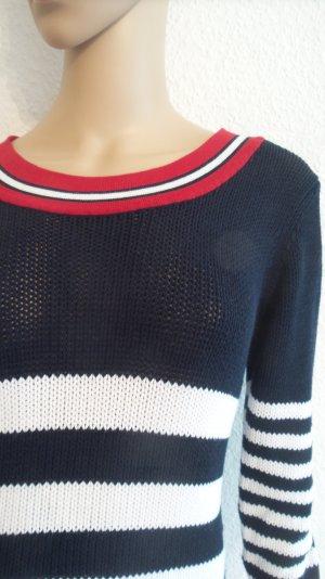 Schöner Pullover * Strick * Viskose * blau-weiß* rote Bündchen
