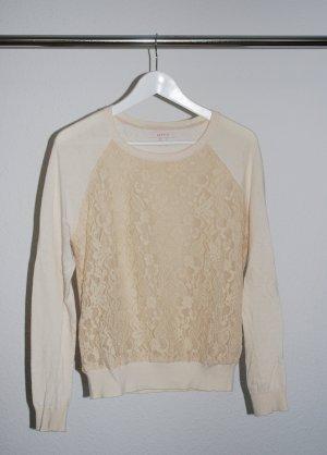 Schöner Pullover verspieltes Sweatshirt von Esprit mit Spitze S nude
