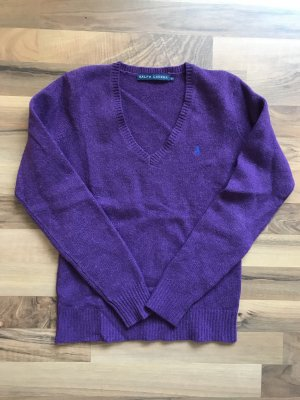 Lauren by Ralph Lauren Pull col en V violet-violet foncé laine