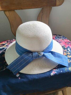 Chapeau de soleil blanc-bleu azur