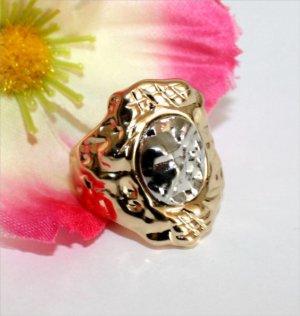 Schöner Ring Gr.17 Silber Gold Gehämmert