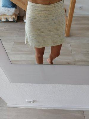 Promod Falda de talle alto amarillo claro-blanco