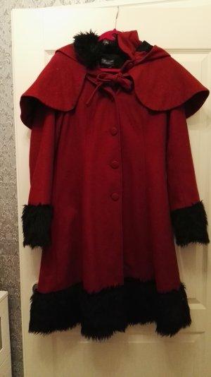 Abrigo corto rojo oscuro tejido mezclado