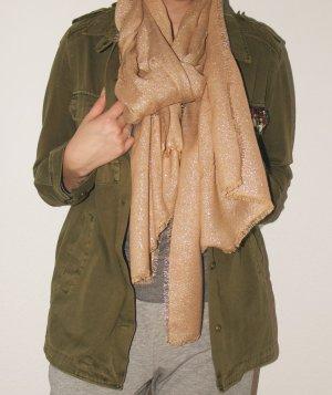 Schöner Schal in beige mit Silberfäden und leichten Fransen
