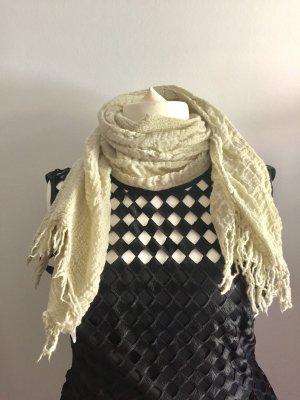 Schöner Schal/ Tuch von Naf Naf, 100% Wolle, beige/ grün/ Khaki