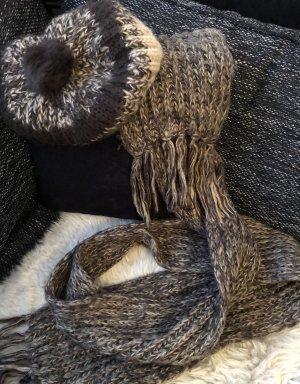 Hallhuber Scarf black brown-beige