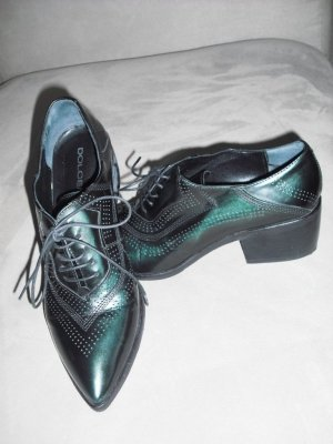 Low Shoes black-dark green leather