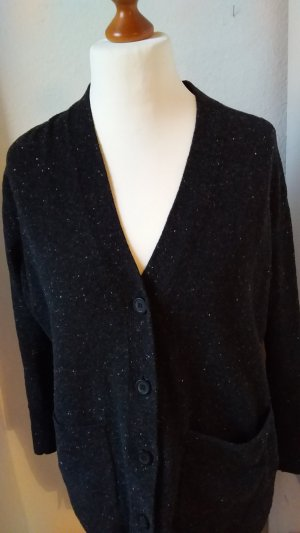 COS Knitted Cardigan black-natural white new wool