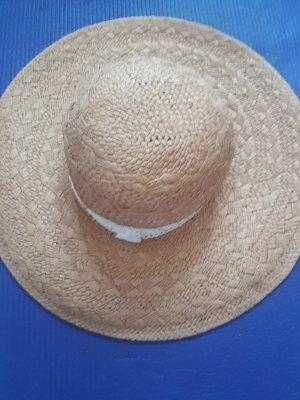Sombrero de ala ancha blanco-marrón claro