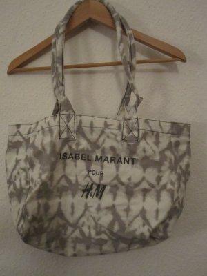 Isabel Marant pour H&M Bolso de tela gris claro-blanco fibra textil