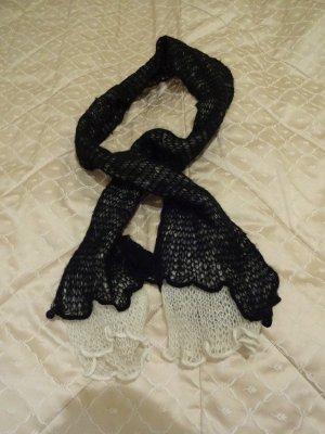 Promod Wollen sjaal wit-zwart Gemengd weefsel