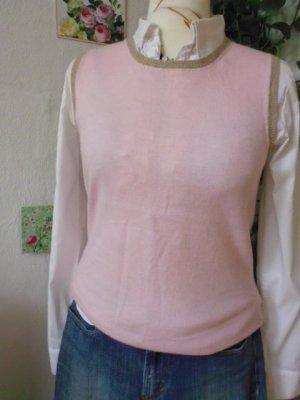 Canotta all'uncinetto color cammello-rosa chiaro Tessuto misto