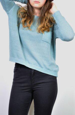 Schöner Türkisfarbener Pullover mit Tasche