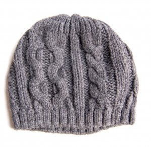 Beanie silver-colored wool