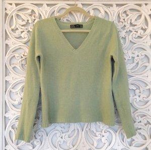 schöner Woll Pullover von ZARA mit Angora * hellgrün * Gr. M