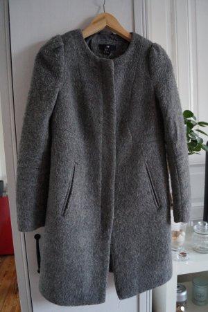 Schöner Wollmantel H&M Gr.34/36 grau Puffärmel mit Reißverschluss