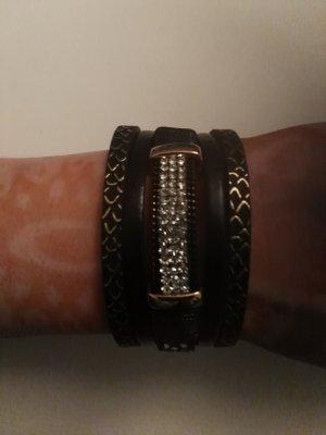 schönes Armband Kunstleder, gold mit Steinen neu