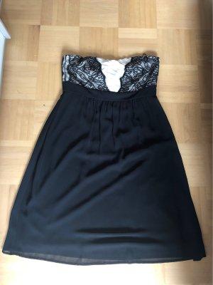 Esprit Vestido bandeau negro-blanco
