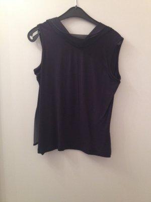 Schönes Baumwollshirt mit integriertem ChiffonSchal und Rückenausschnitt