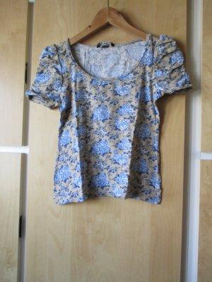 schönes Blumenschirt, beige/blau mit Rüschenärmel