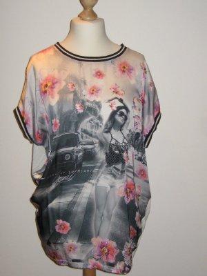 Schönes Blusen Shirt von Gaudi L tolle Blumen Print und Strass