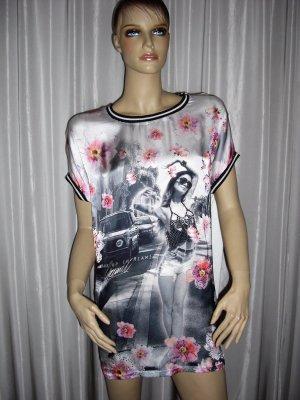 Schönes Blusen Shirt von Gaudi L tolle Blumen Print und Strass XXL