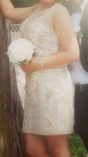 Schönes Cocktail Kleid in weiß mit rosegoldenen Stickereien