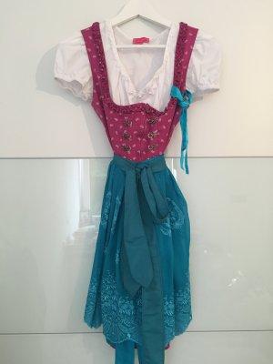 Schönes Dirndl in Pink/Blau MIT Dirndl Bluse - Krüger