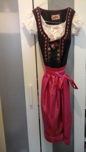 Stockerpoint Dirndl black brown-pink cotton