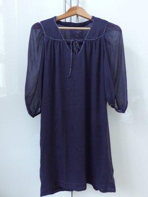 schönes dunkel lila Kleid von Pepe, leicht transparent mit Silberfaden
